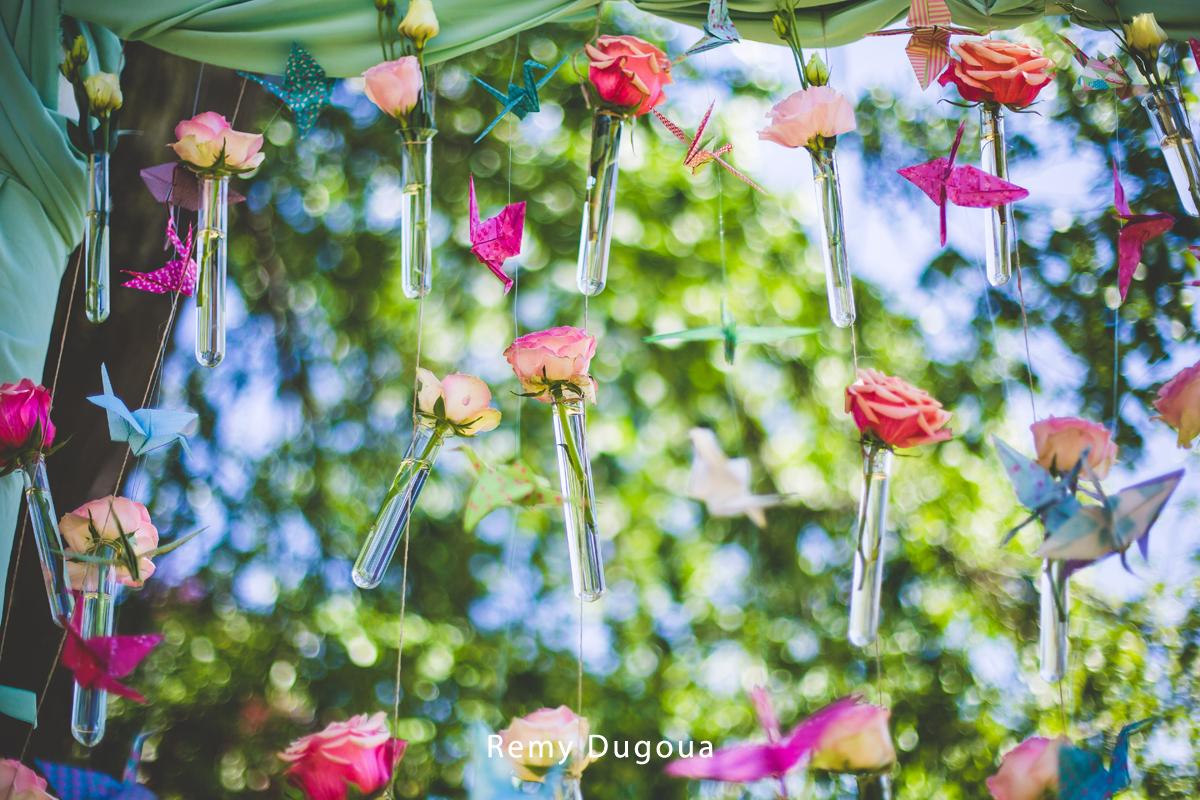 Composition florale d'été décorée par Elisabeth Delsol.
