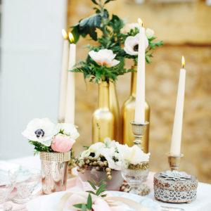 Décoration Florale Thème Or Et Gold Par Elisabeth Delsol