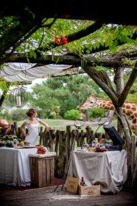 Décoration De Mariage Au Thème Safari Chic Avec Une Mariée, Une Girafe Dans Un Extérieur Bohème Et Sauvage.
