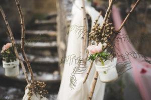 Décoration Et Arche De Cérémonie En Fleur De Mariage En Hiver.