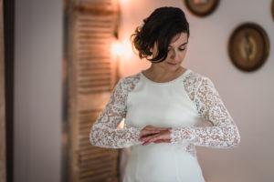 Mariée à La Robe De Mariage Boho Chic.