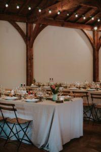 Décoration De Réception De Mariage Champêtre Dans Une Grange Atypique Du Sud Ouest.