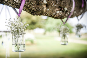 Décoration D'extérieur Et D'arbre Lors De Mariage En Fleurs De Gypsophile.