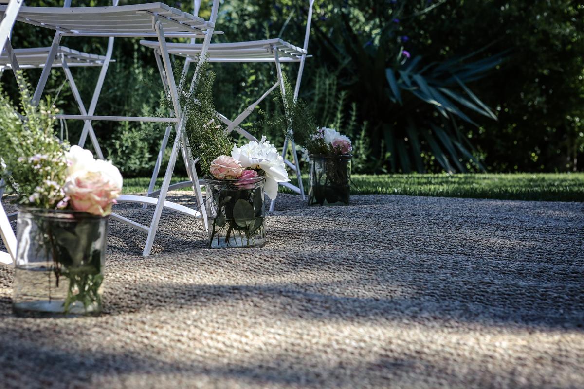 Décoration mariage champêtre chic au Cap Ferret par la décoratrice Elisabeth Delsol.