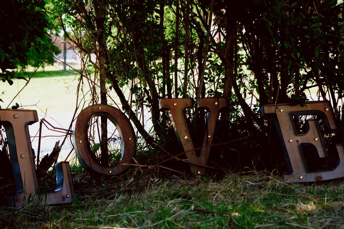 Panneau Love de décoration dans un buisson d'une prairie.