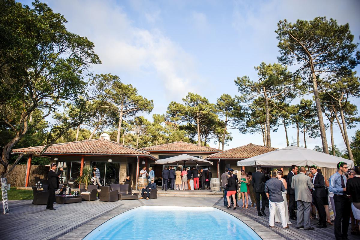 À Cap Golf un mariage avec une décoration champêtre au Cap Ferret.