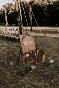 Décoration Lierre Mariage De Panneau Bienvenue En Bois.
