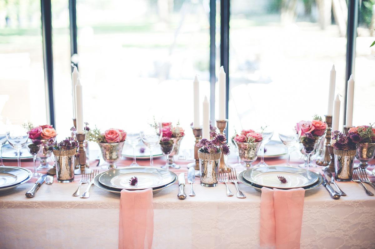Chemin de table champêtre chic de mariage et réception.