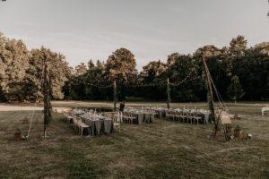 Décoration Mariage Extérieur Et Fleurs Dans Le Jardin Avec Ses Tables De Dîner.