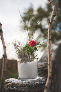 Bouquet De Fleur Avec Neige Et Rose Rouge.