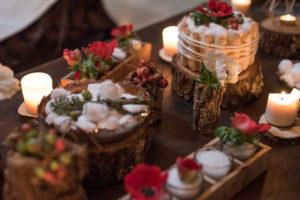 Rondins De Bois, Bougies Et Fleurs De Décembre Pour Noël.