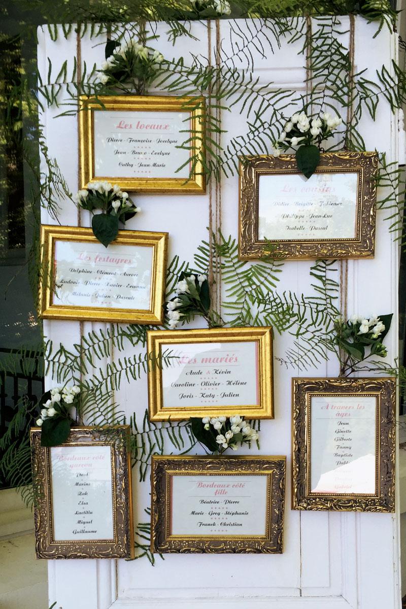 Plan de table en fleurs pour un mariage au Pays Basque sur une porte blanche.
