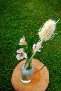 Fleur Bohème Et Chardon Séché En Déco D'allée De Cérémonie Dans Le Jardin De La Ferme D'En Chon.